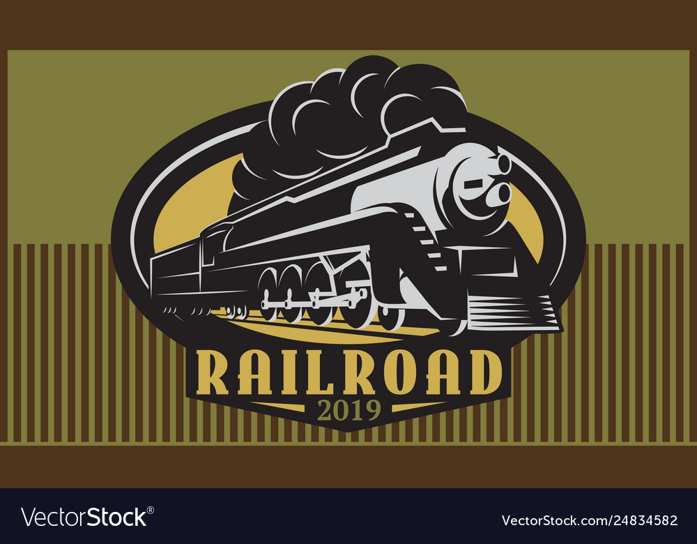 Colorful retro posters with vintage locomotive