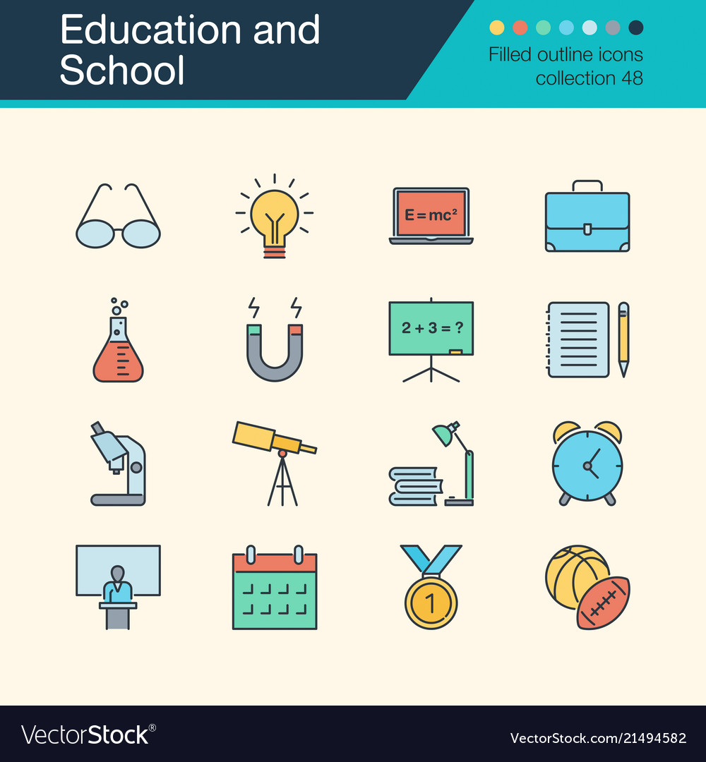 Education and school icons filled outline design