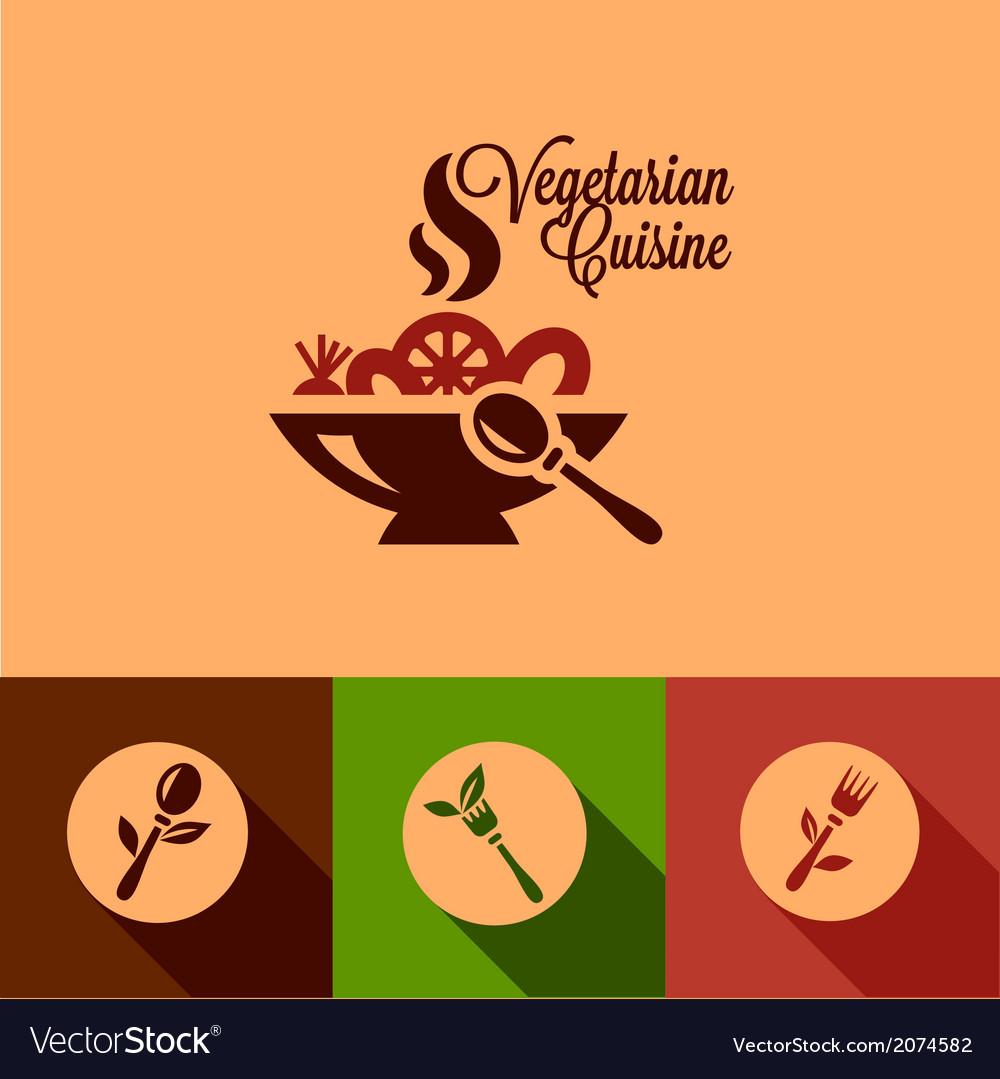 Flat vegetarian cuisine icons set