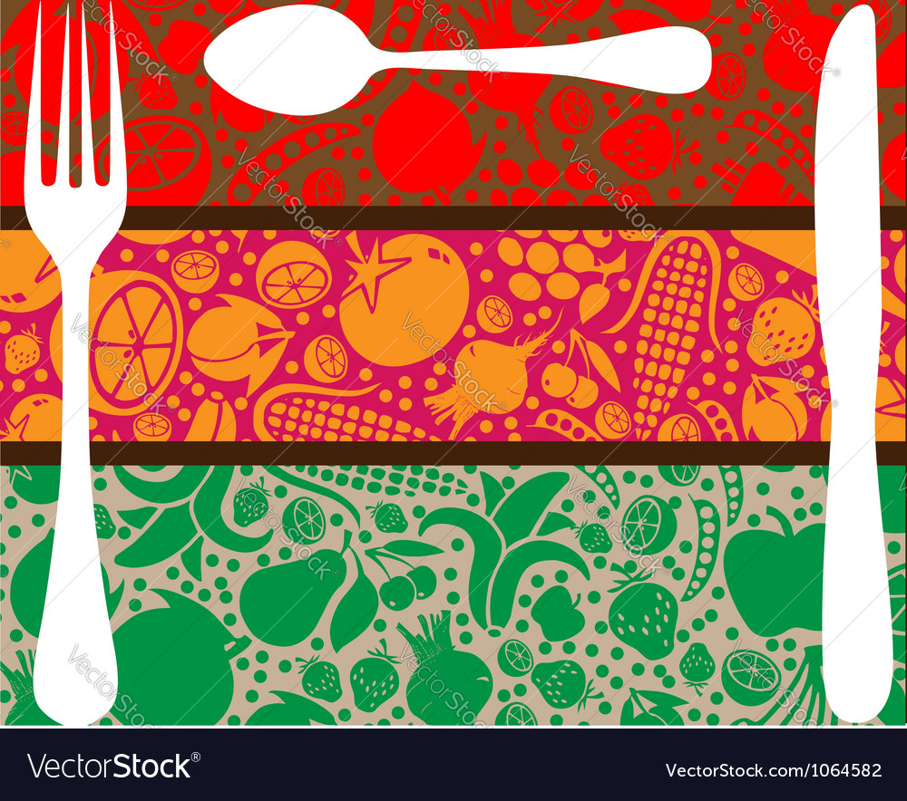 Fork spoon and knife on table vector image