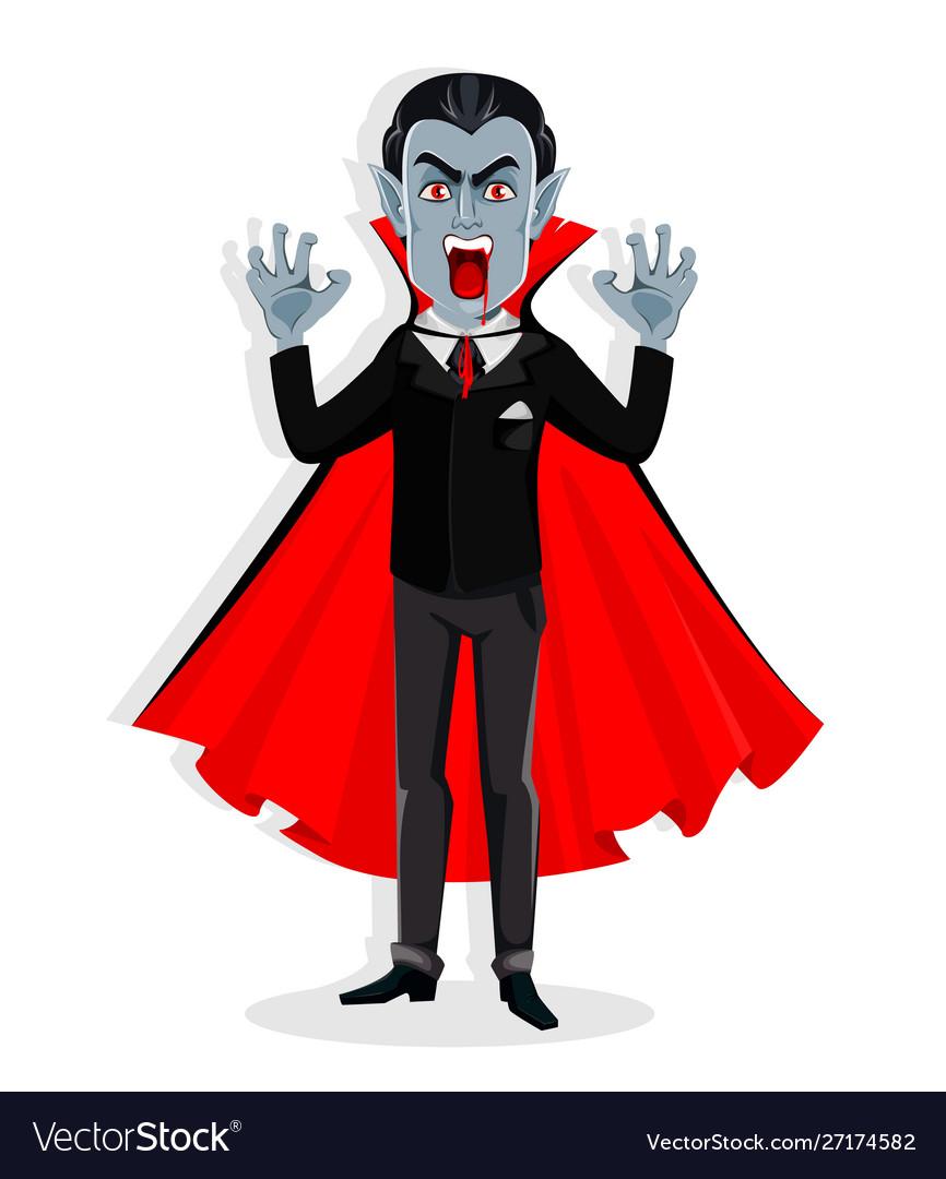 Happy Halloween Handsome Cartoon Vampire Vector Image