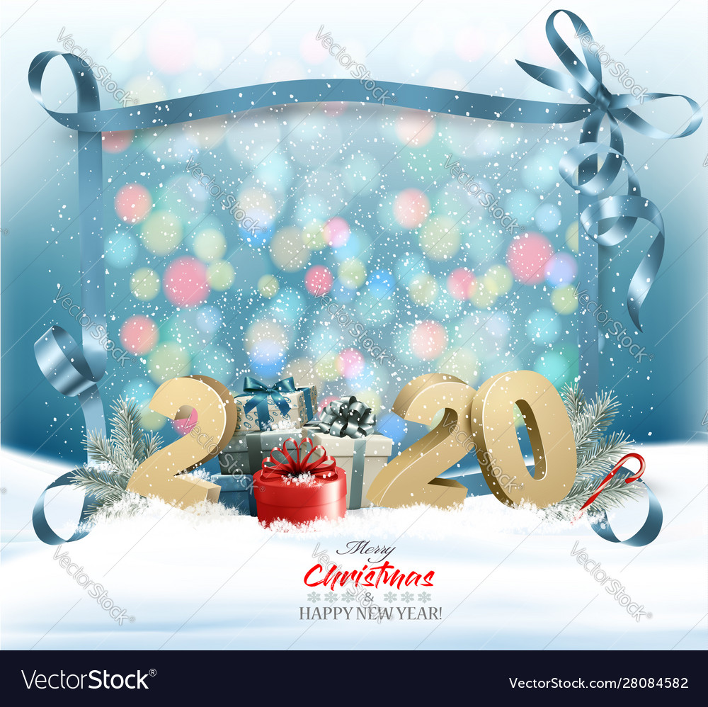 Holiday christmas background with 2020 and a gift