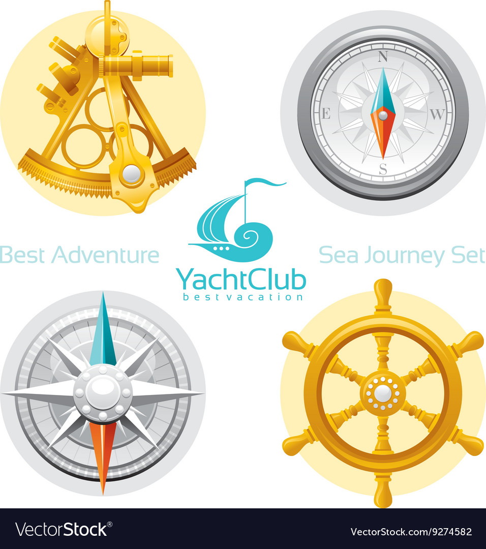 Sea travel icon set with seafaring icons sextant