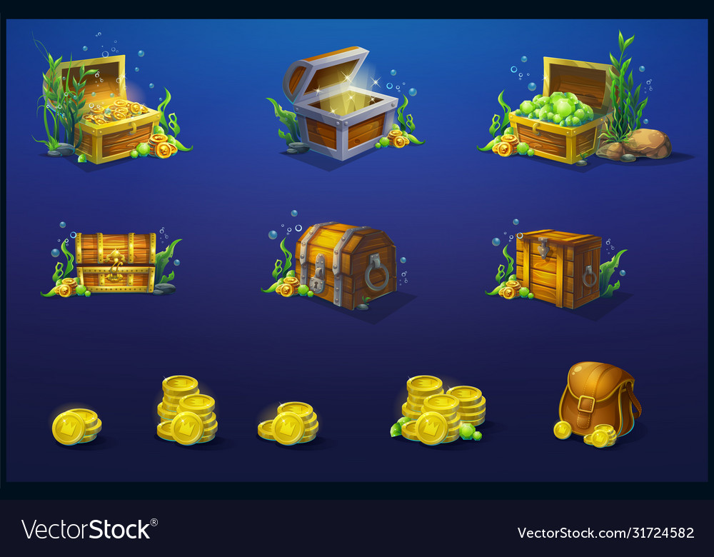 Set wooden chests and a bag vector