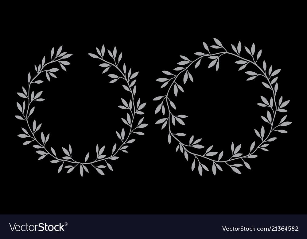 Silhouettes round vintage floral frames laurel