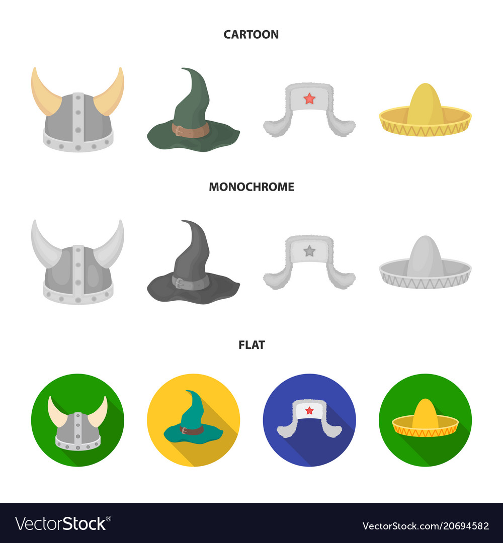 Sombrero hat with ear-flaps helmet of the viking Vector Image cc5db240b68