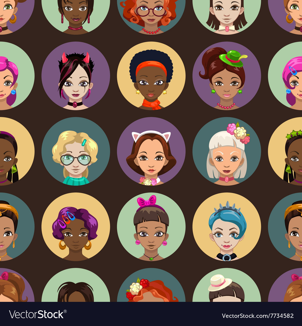 Stylish fancy seamless pattern with girls faces