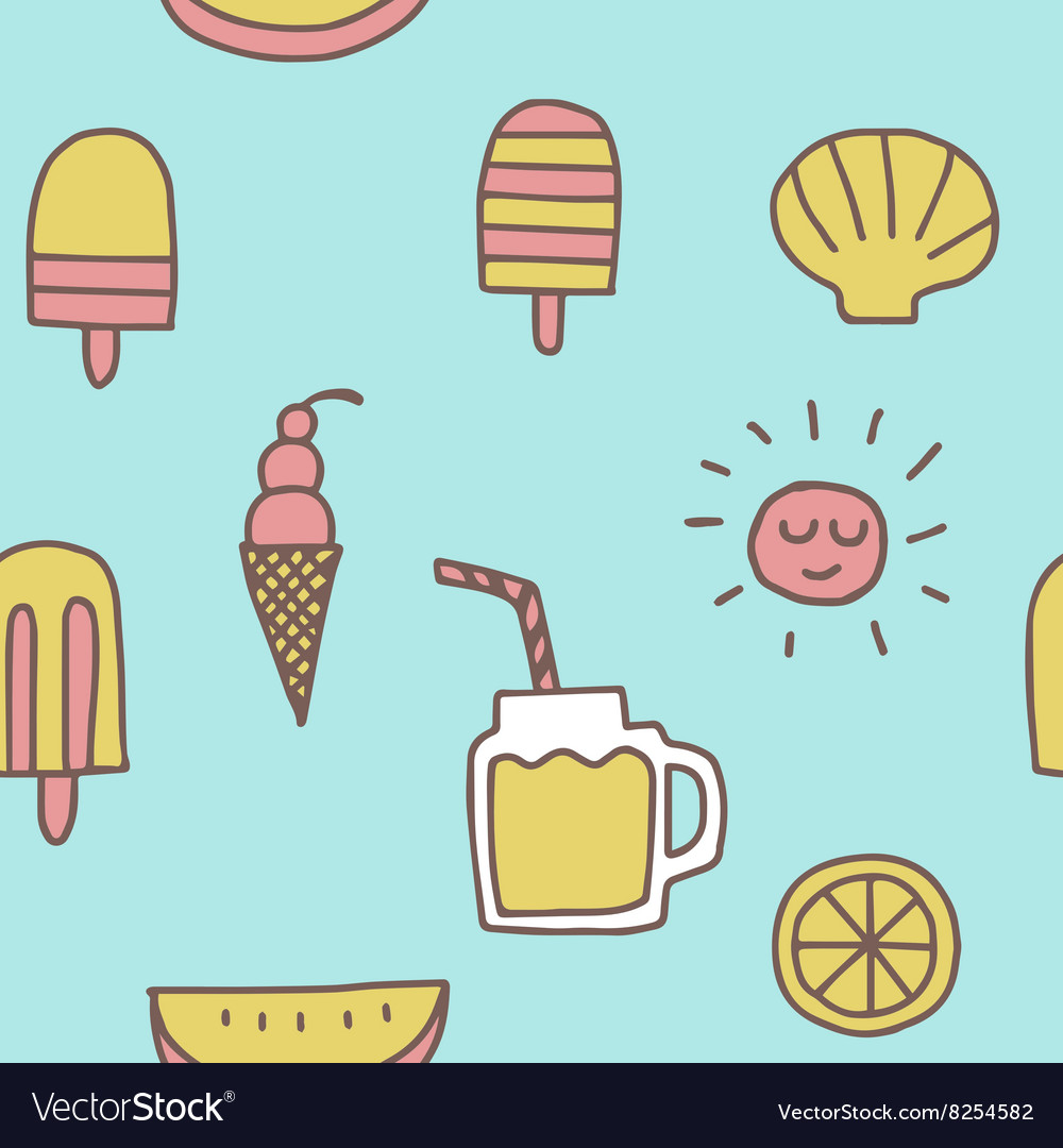 Summer icons seamless pattern background