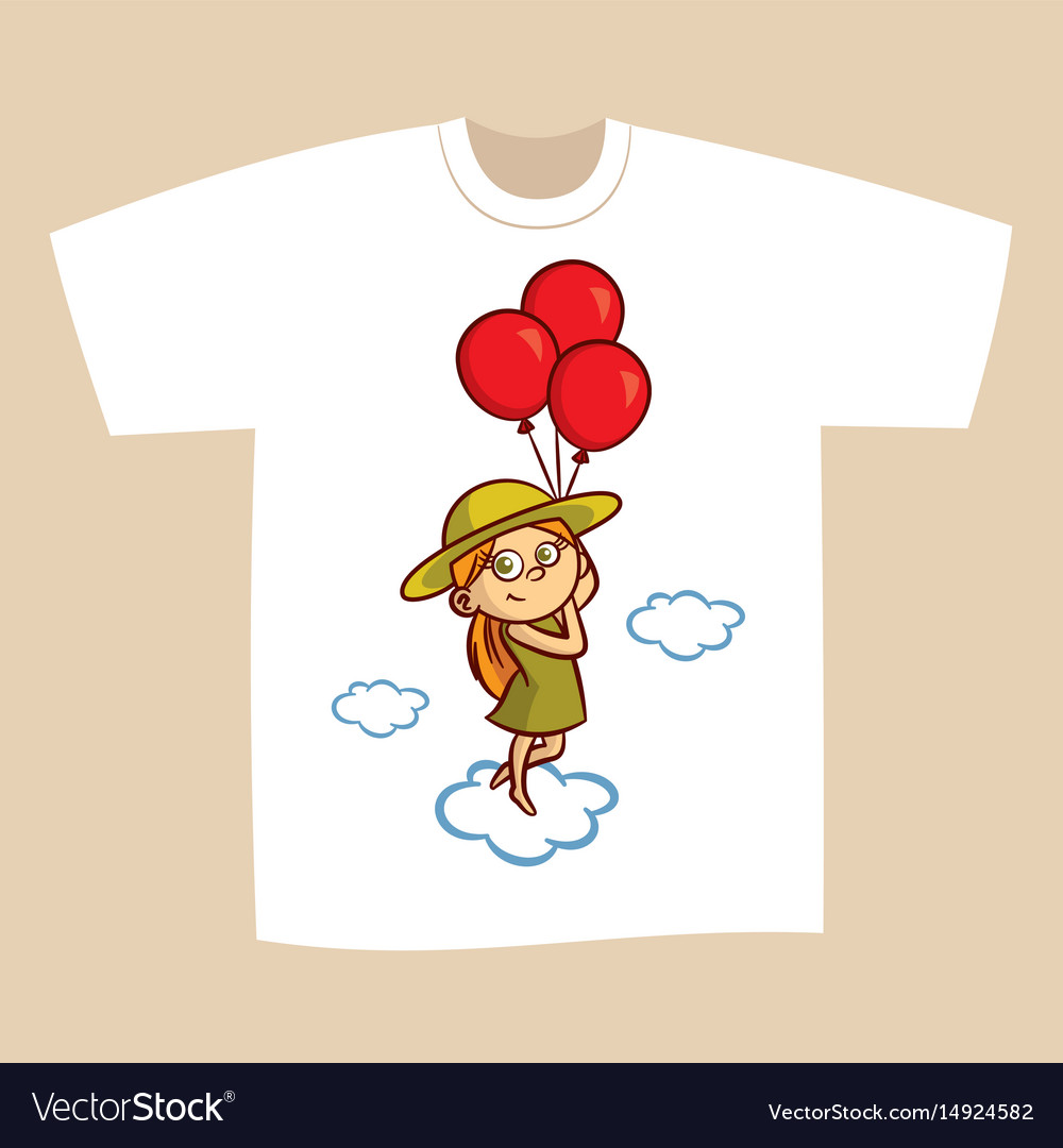 T Shirt Print Design Girl With Balloons Royalty Free Vector