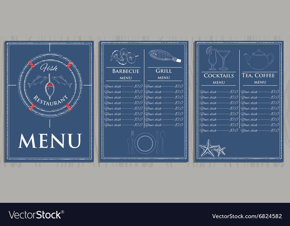 Template fish menu on wood background