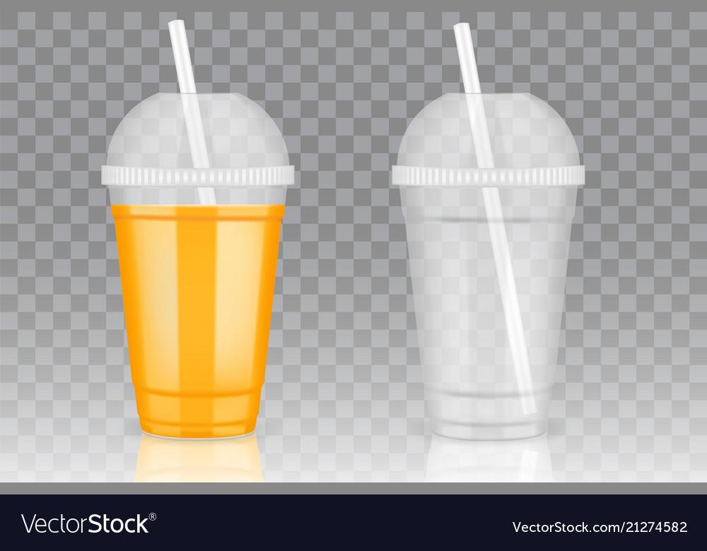 Transparent Disposable Plastic Cup Mockups Vector Image