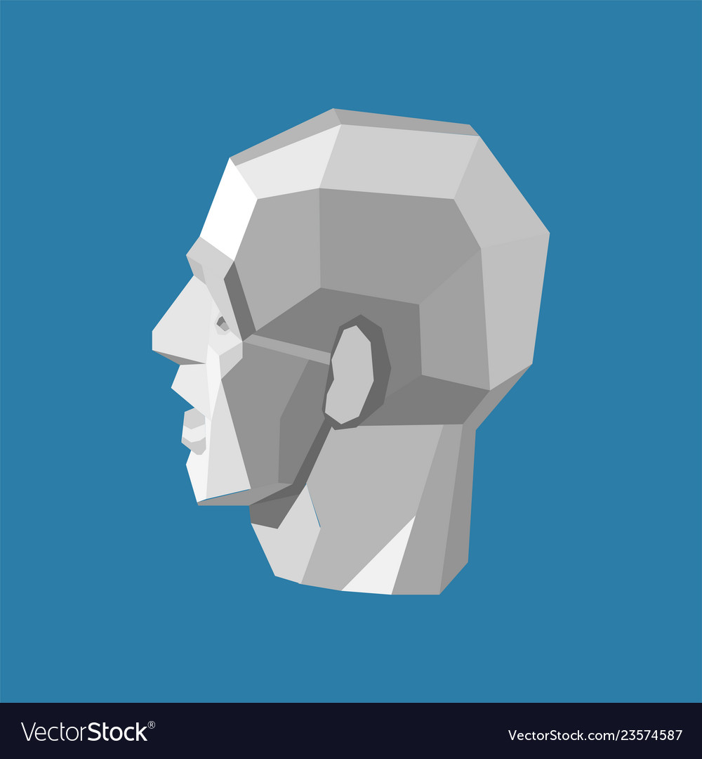 Abstract human head stylized as a white