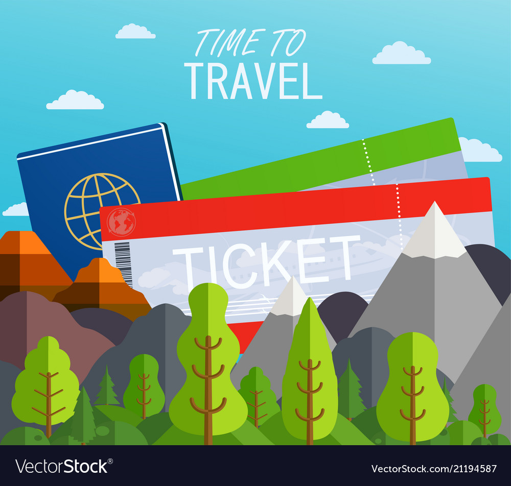 Airplane tickets with passport travel concept