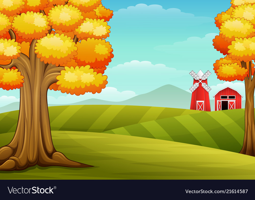 Autumn trees in farm landscape with barn and windm