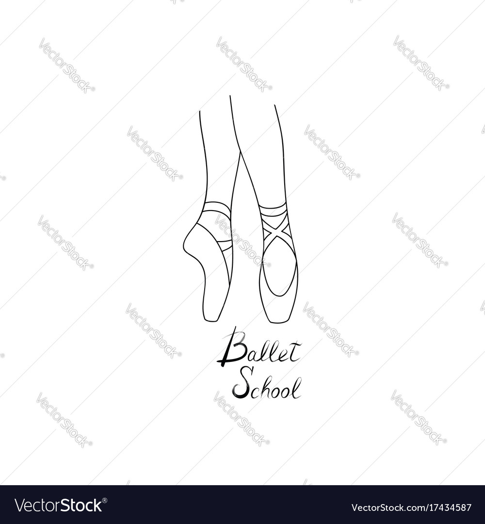 Ballet school logo design theatre performance vector image