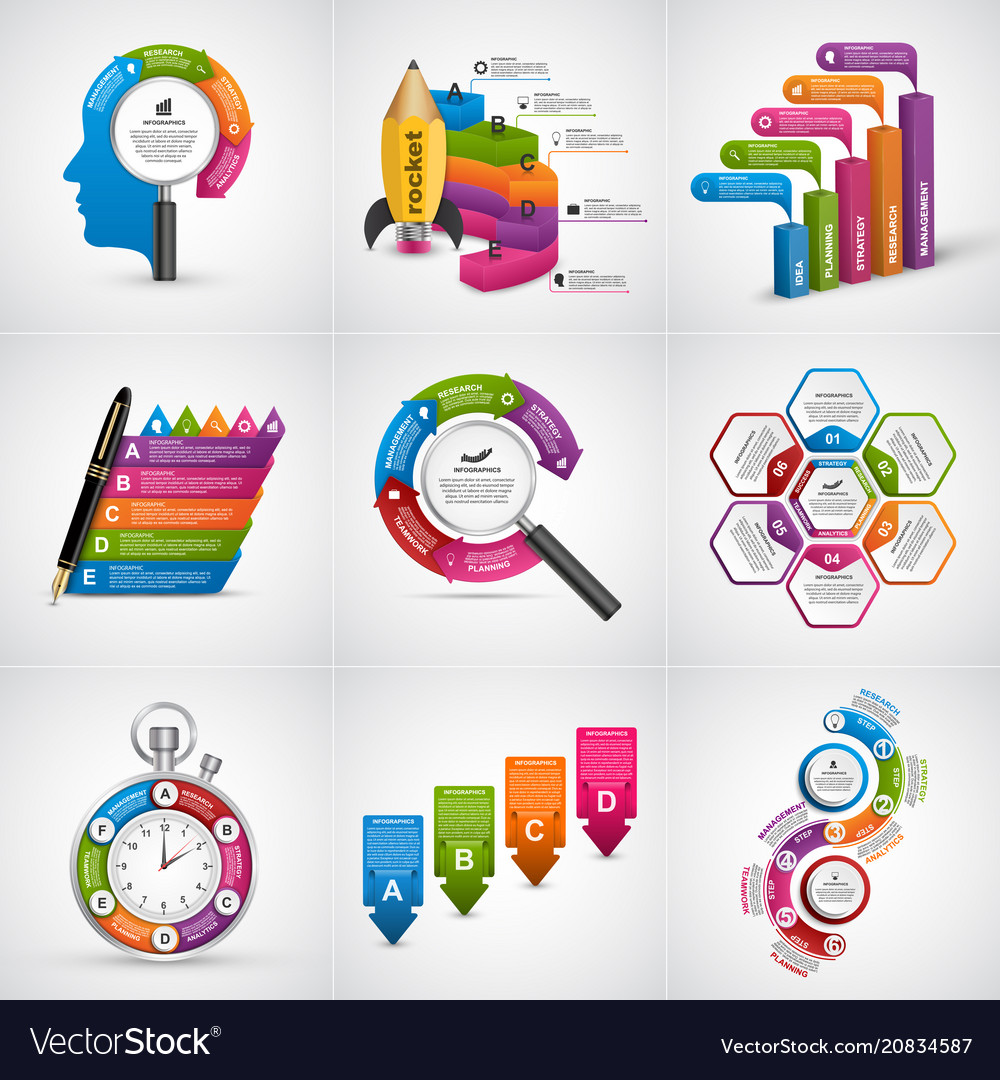 Big collection colorful infographics design