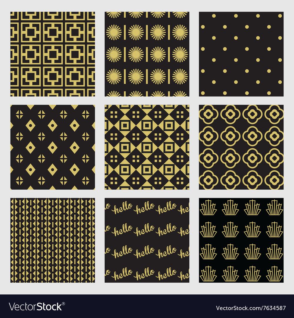 Black and golden modern geometrical patterns set