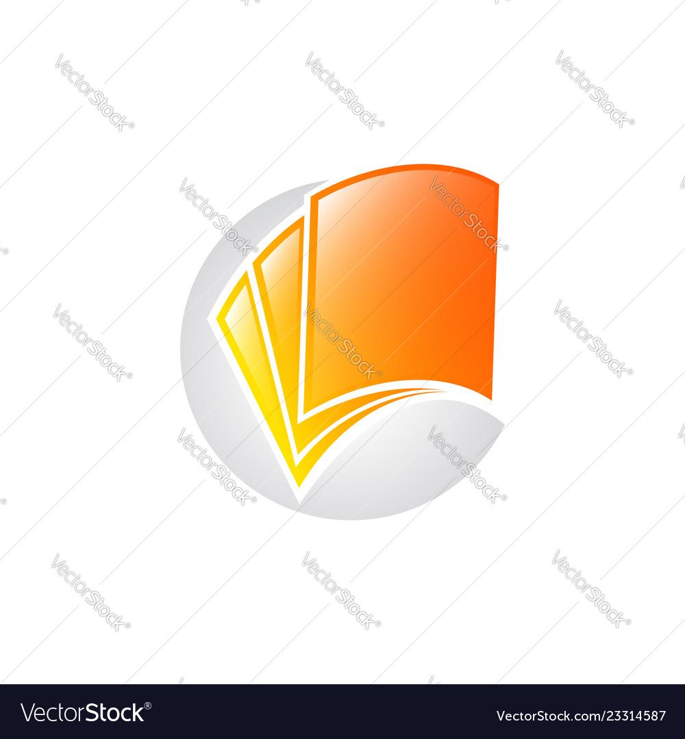 Creative open book logo book color logo school
