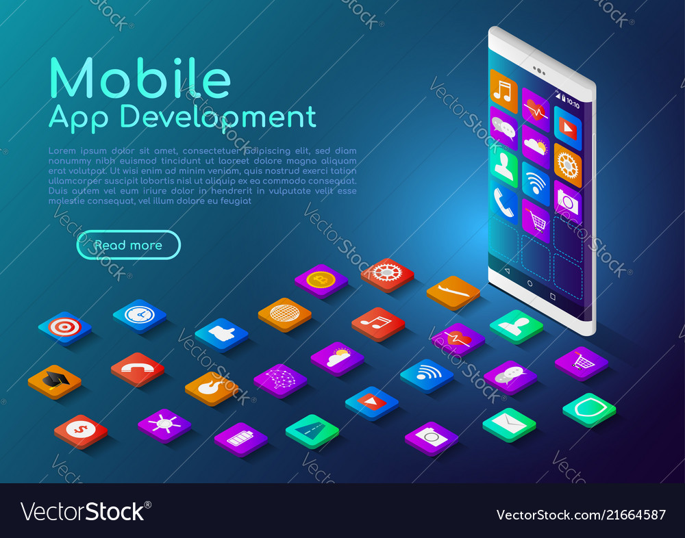 Isometric web banner smartphone with mobile app