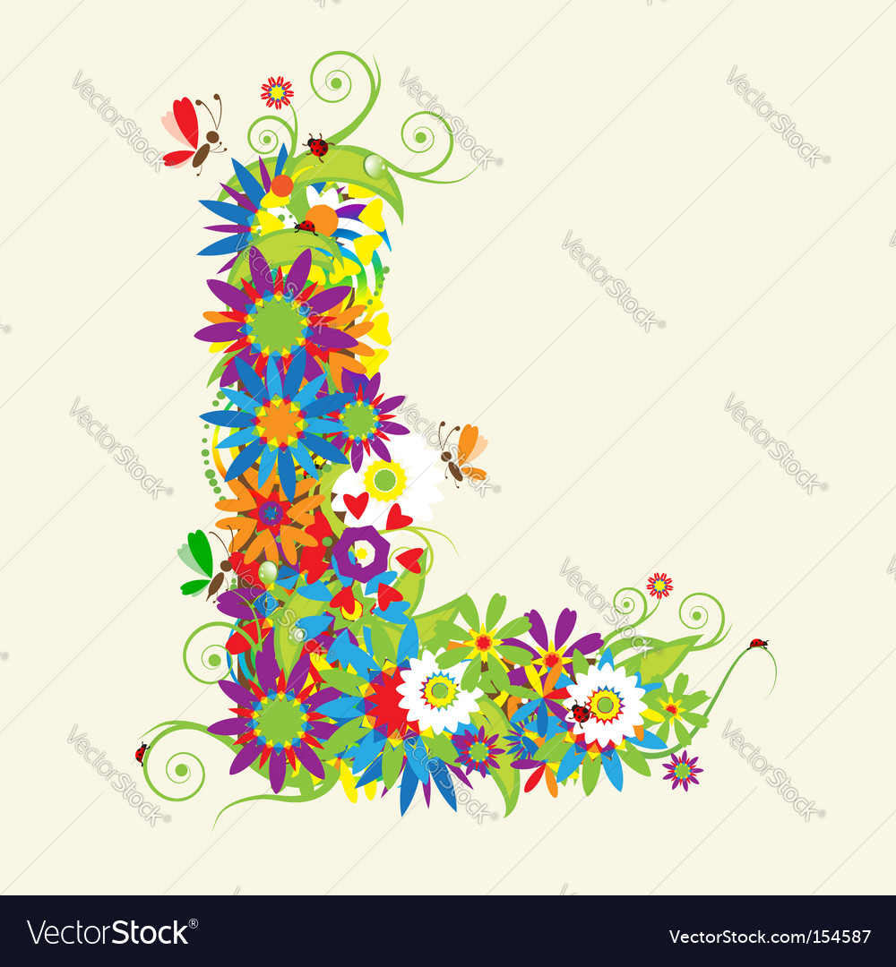Letter L Floral Design Royalty Free Vector Image