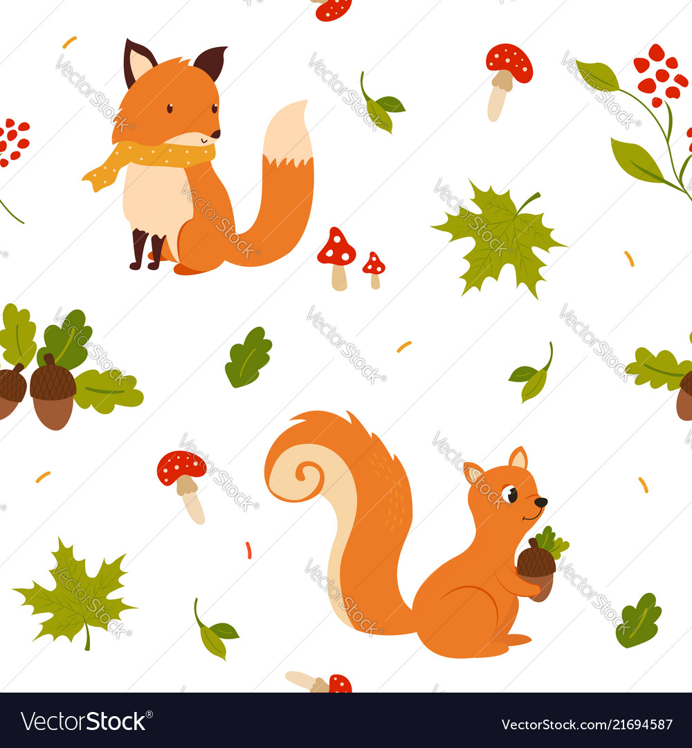 Lovely seamless pattern with cute fox and squirrel