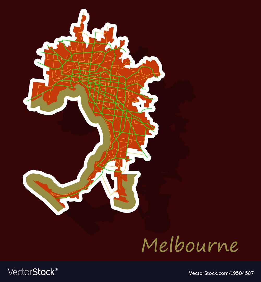 Australia Map Melbourne.Melbourne Australia Map In Retro Style Sticker Vector Image On Vectorstock