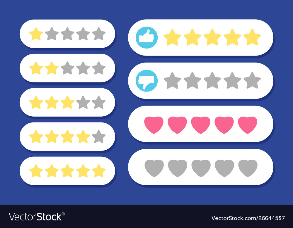 Rating rows stars hearts like and dislike