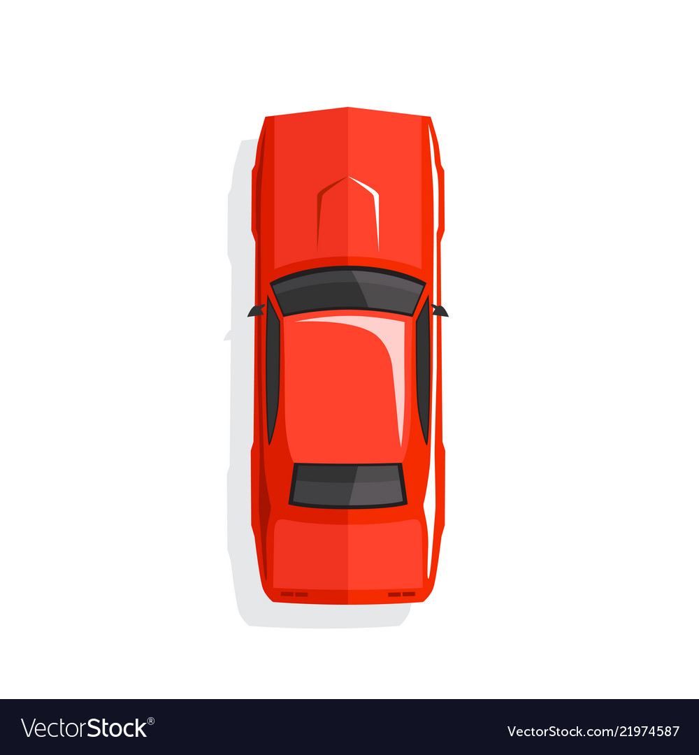 Red cartoon muscle car top view