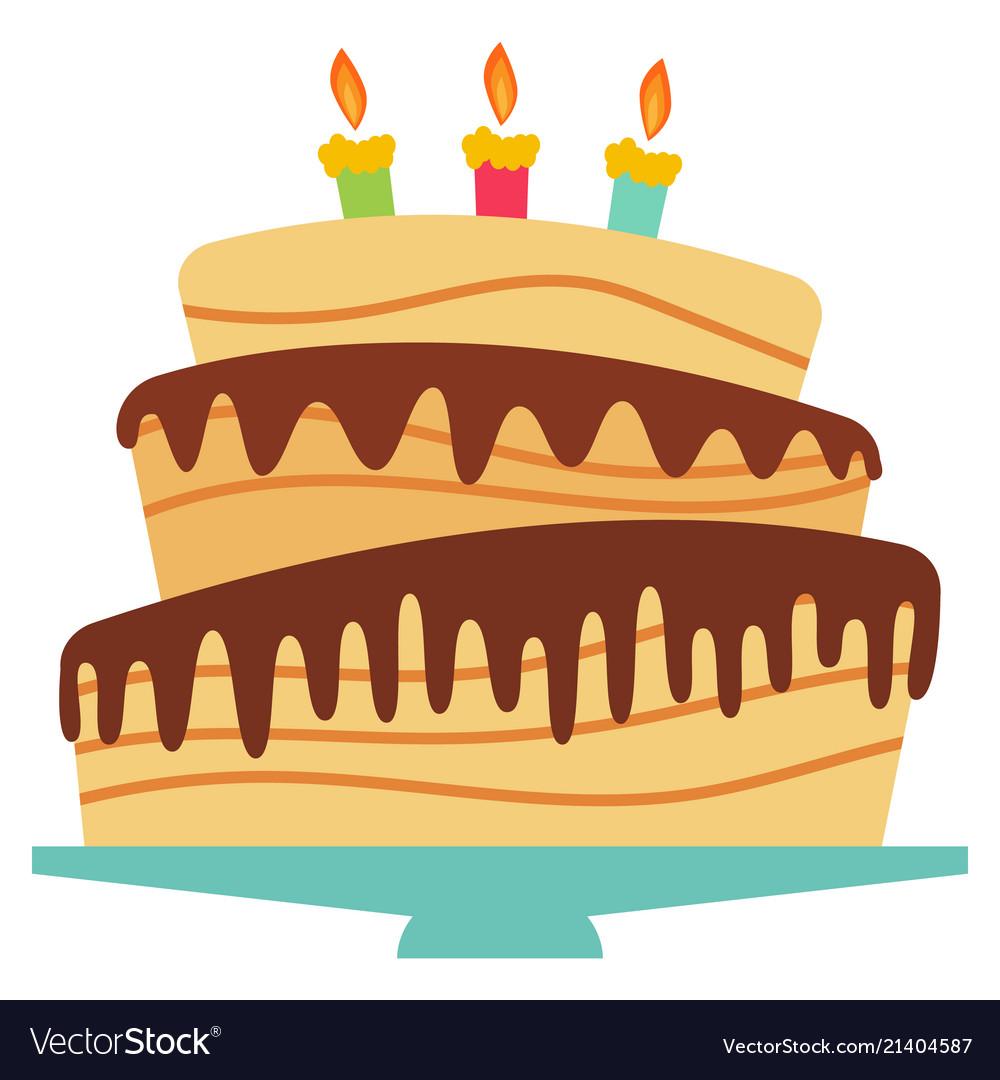 Sweet birthday cake with three burning candles