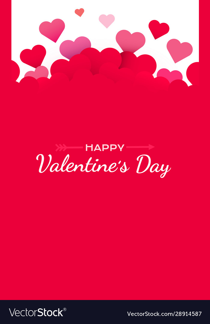 Valentines day background with red hearts cute