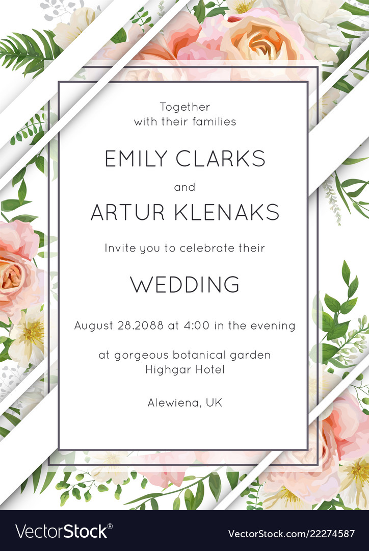 Wedding invite invitation card floral design