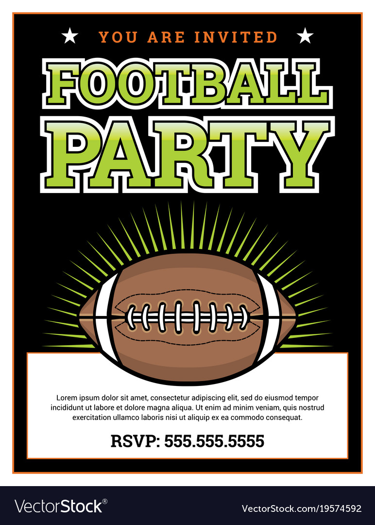 american football party invitation template vector image