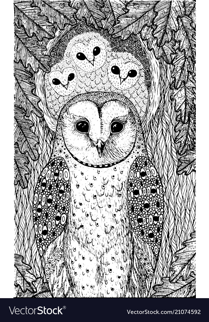 Coloring Page For Adults With Owls On The Oak Tree