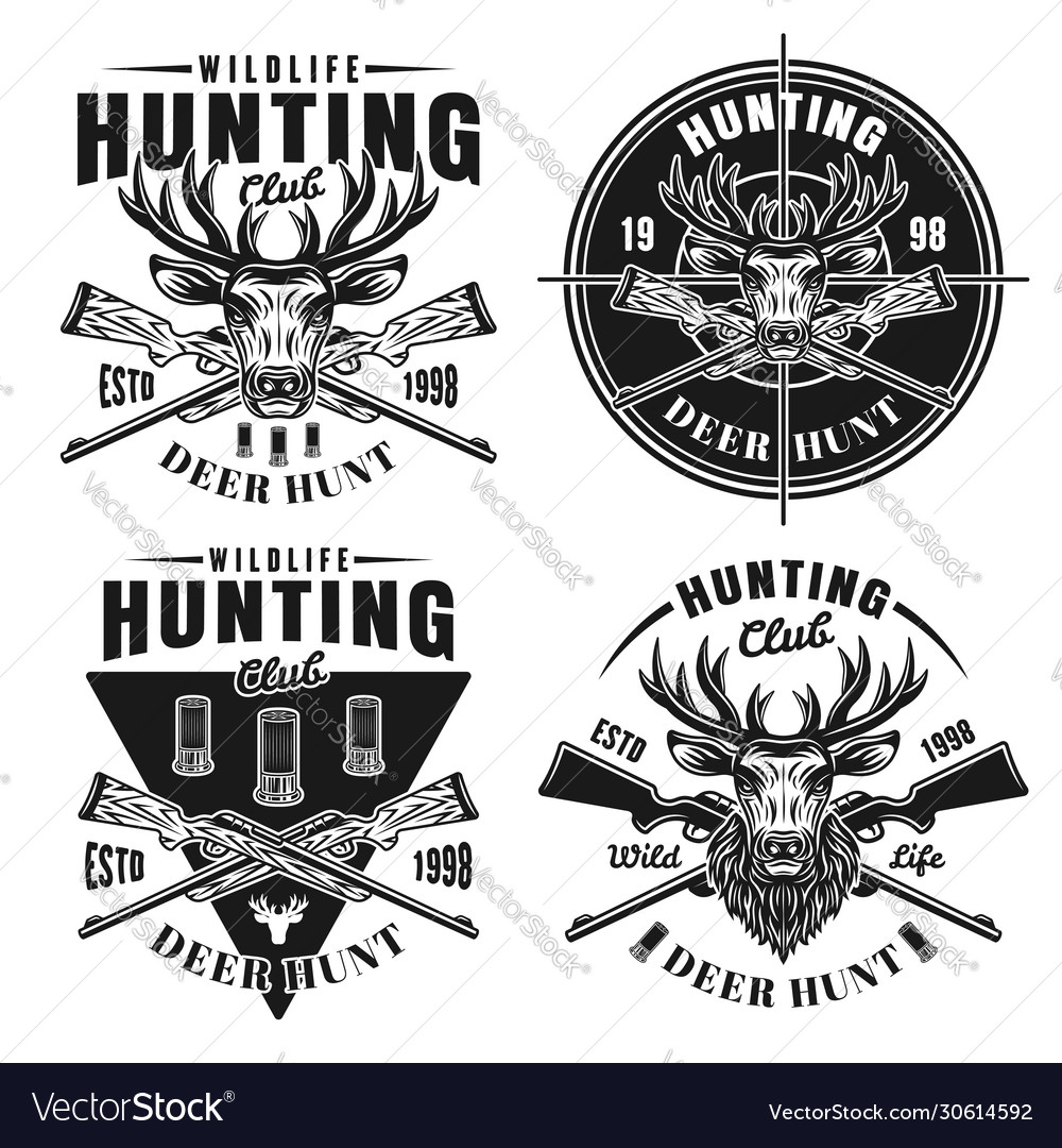 Deer hunt set four hunting club emblems