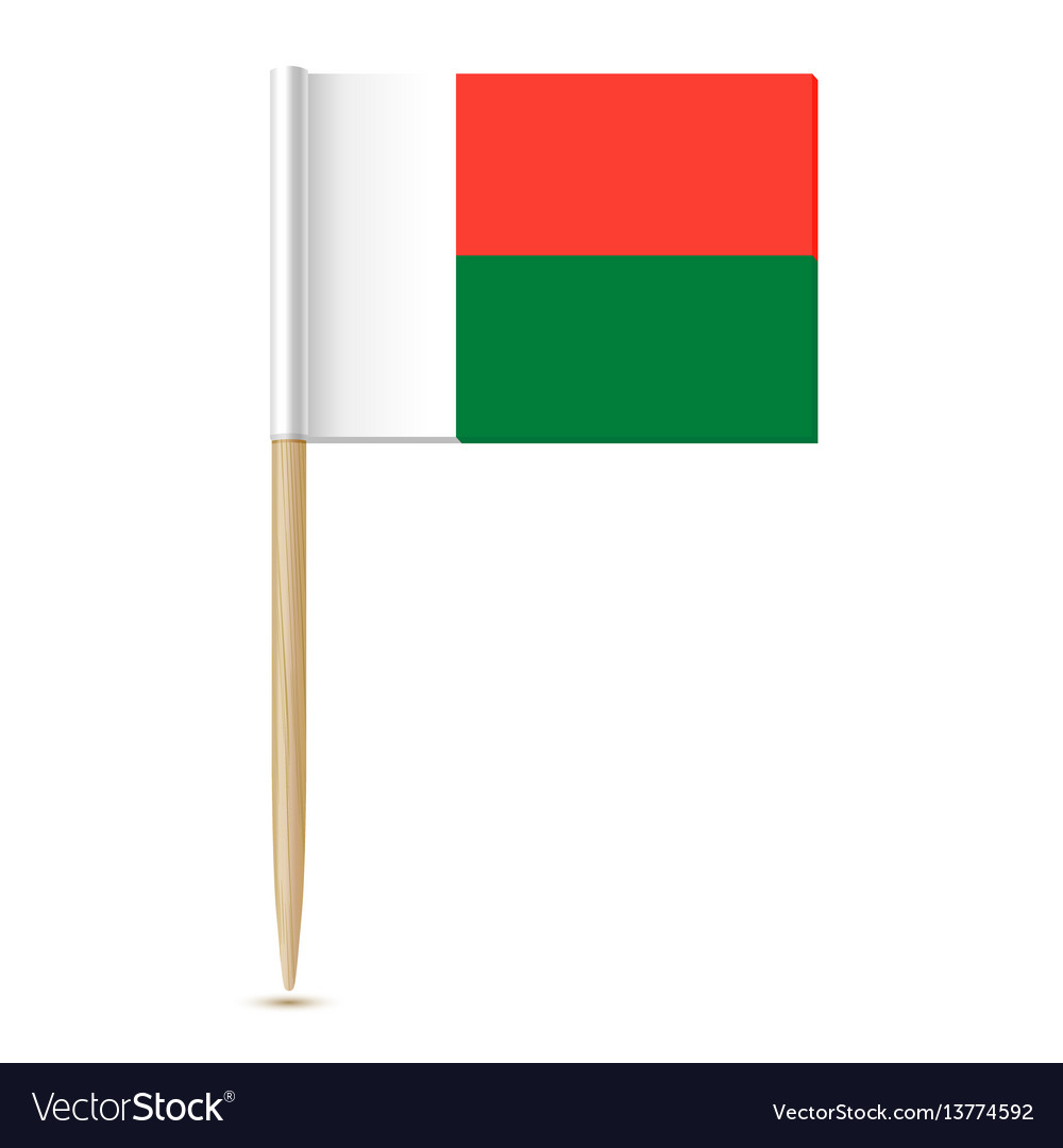Flag of madagascar toothpick on white backgroun