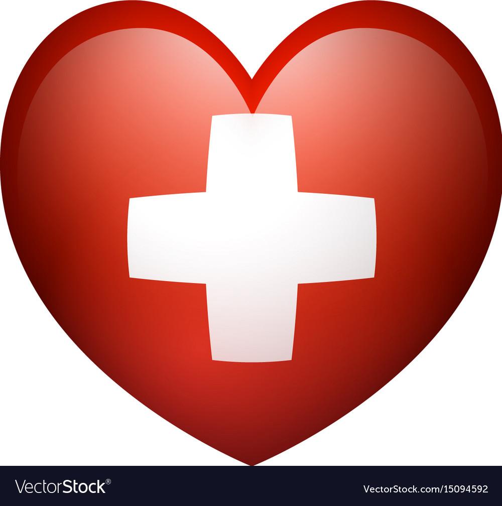 Flag of switzerland in heart shape vector image