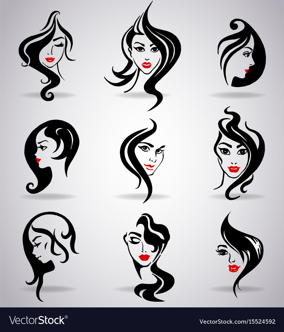 Girls portraits with long hair and red lips vector image