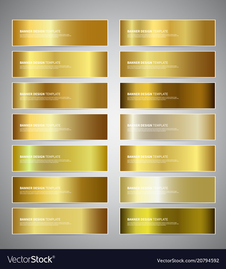 Gold gradient banners vector image
