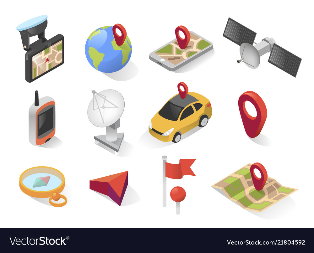 Gps city navigation icon on isometric style
