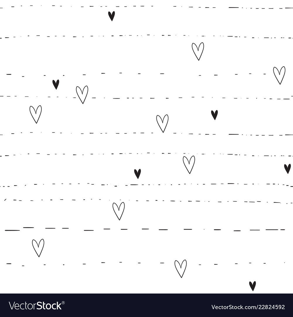 Hand drawn hearts and lines background seamless