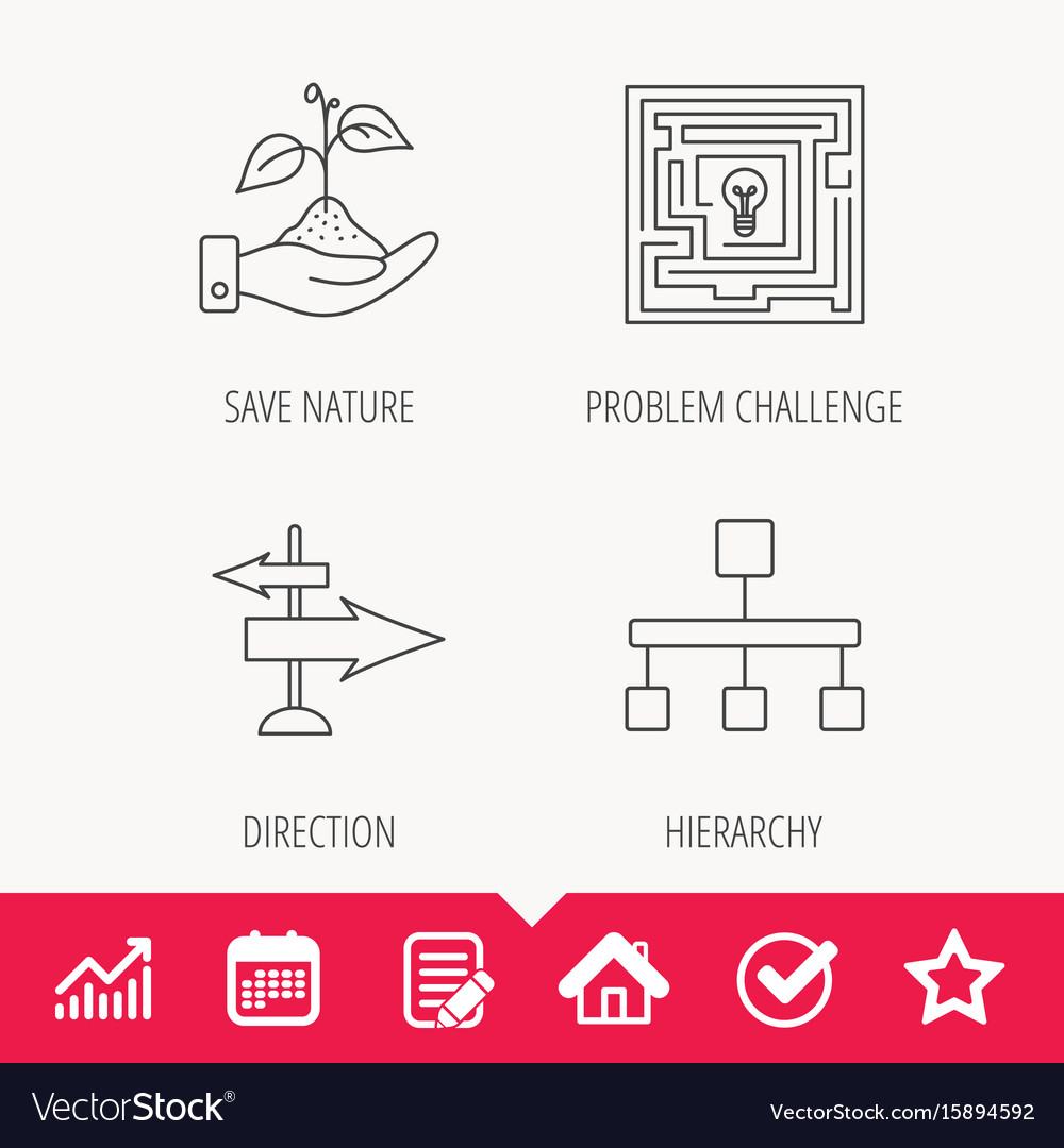 Hierarchy save nature and direction arrow icon vector image