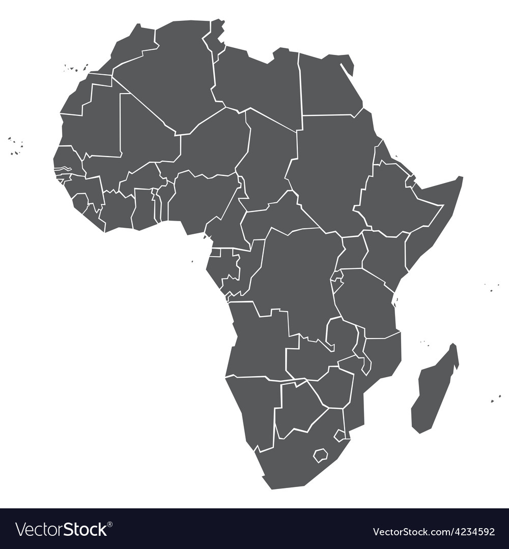 Simplified political map of Africa Royalty Free Vector Image