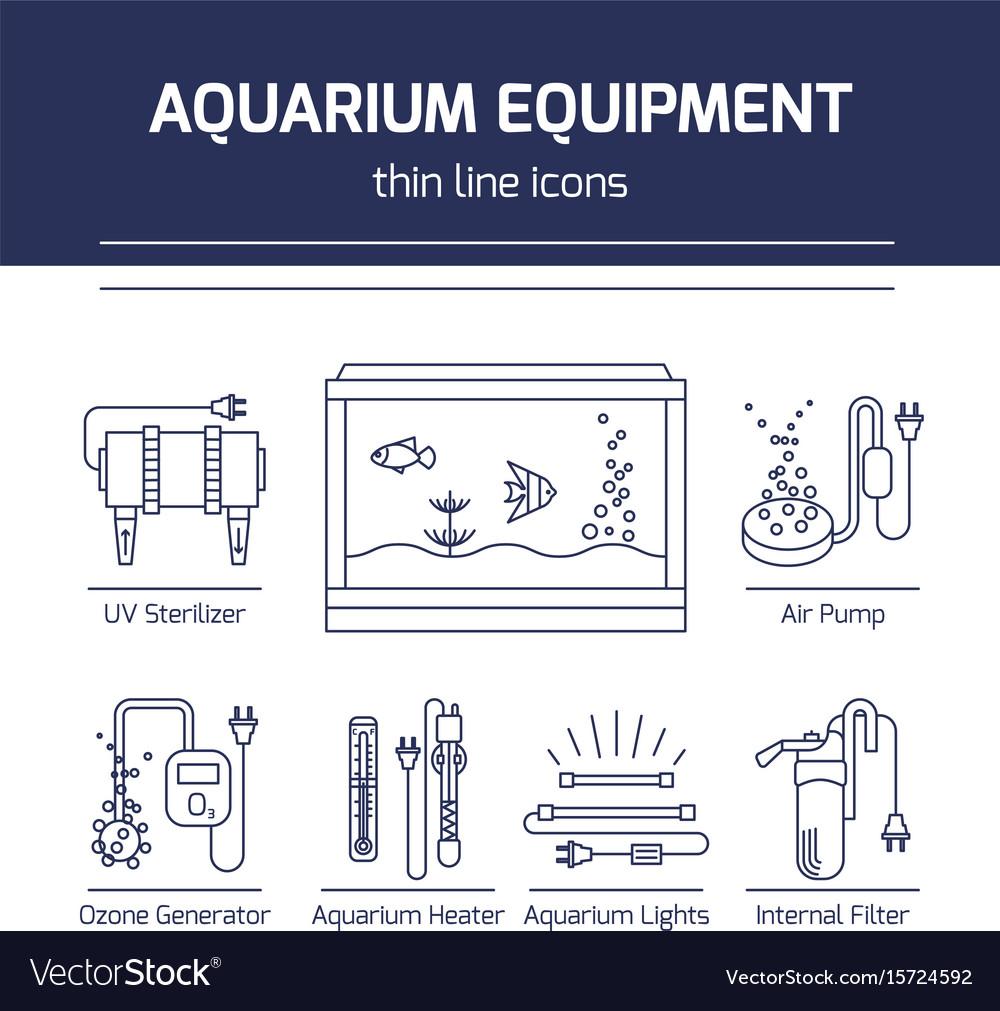 thin line icons aquarium equipment vector image on vectorstock