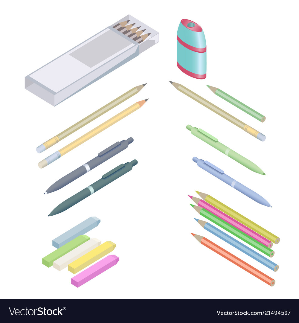 Assortment of office supplies in 3d isometric