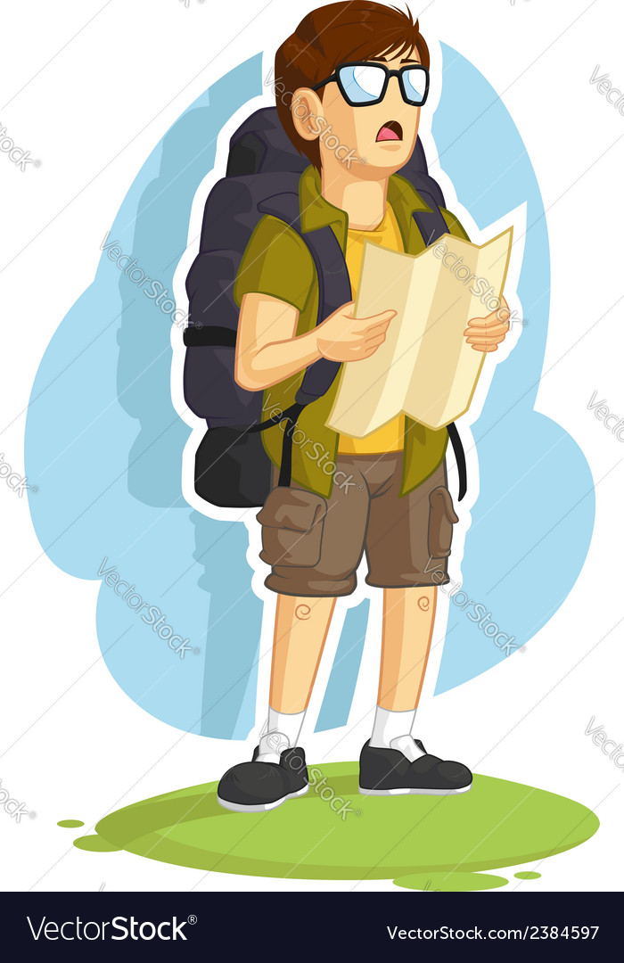 Backpacker Boy Reading Road Map