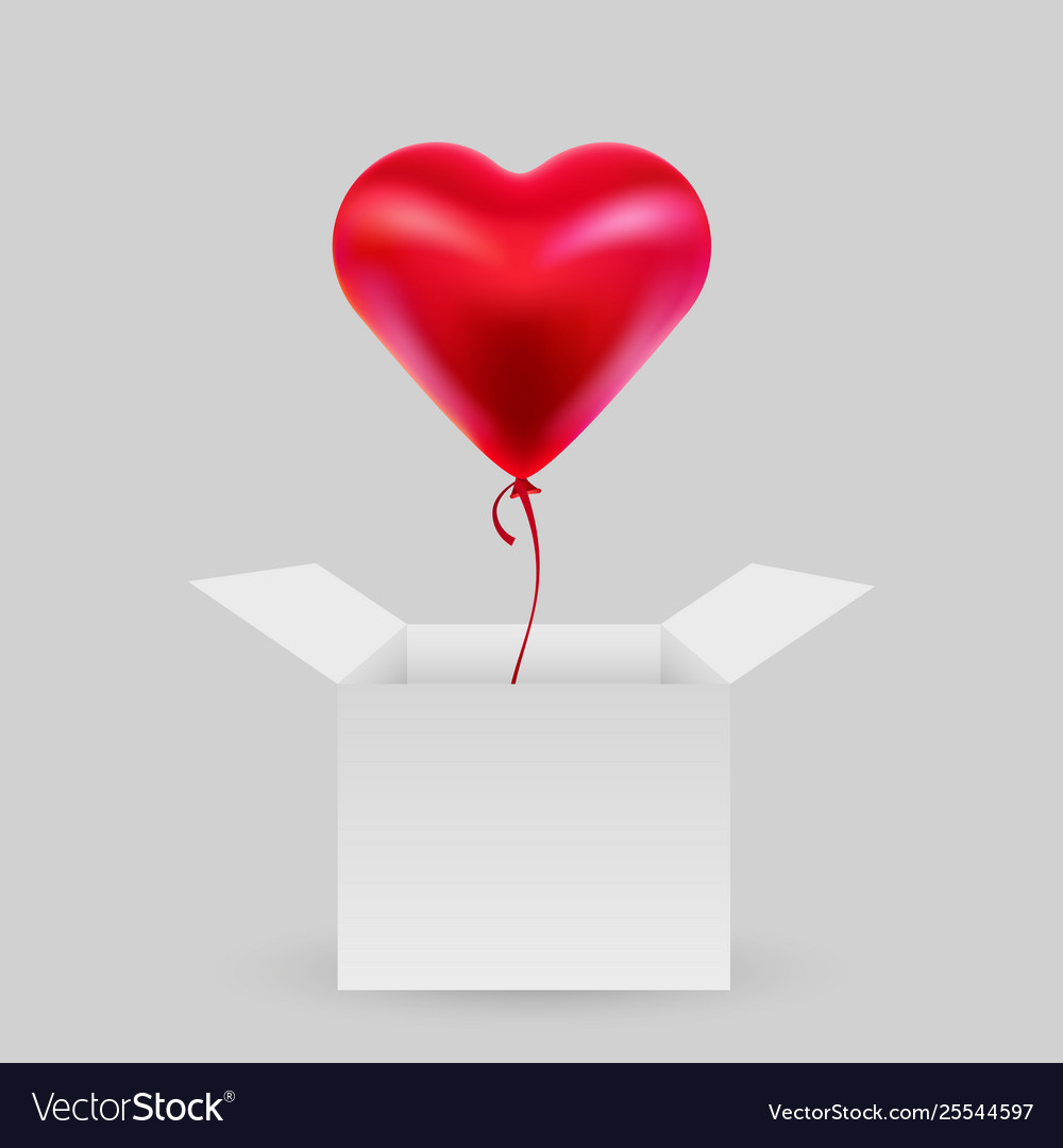 Balloon in shape a heart with an open box