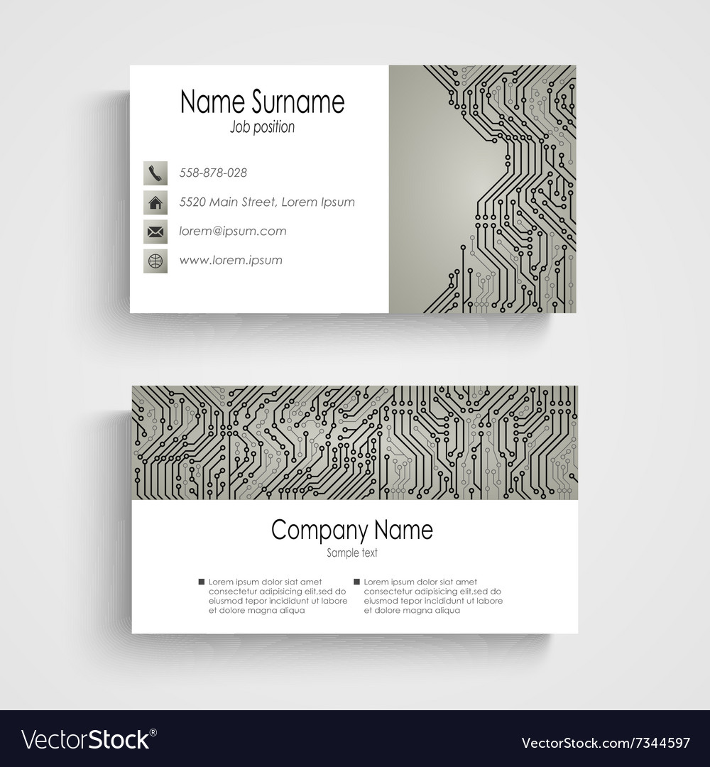 Business card with abstract printed circuit board vector image colourmoves