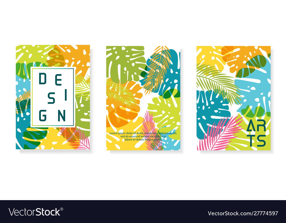Colorful abstract poster set palm background