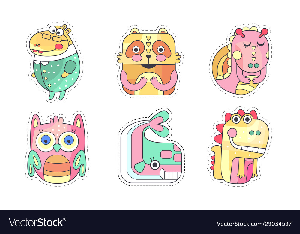 Cute animals collection colorful cloth patches