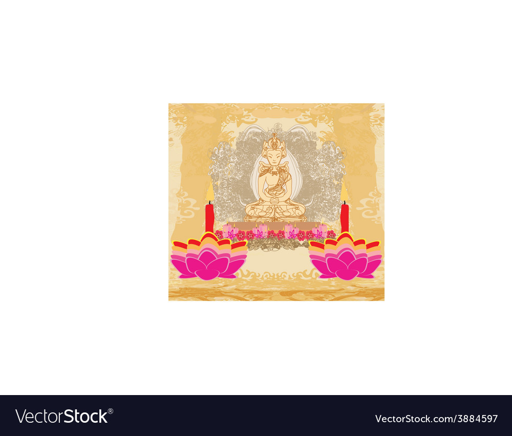 lotus oil lamp with buddha card royalty free vector image